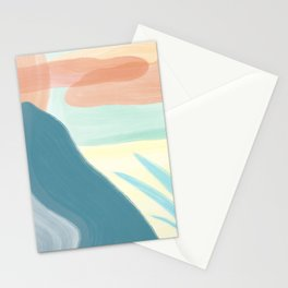 Desert Land // Mountains Sun Clouds Agave Plant Sand Simple Digital Acrylic Landscape Painting Stationery Cards
