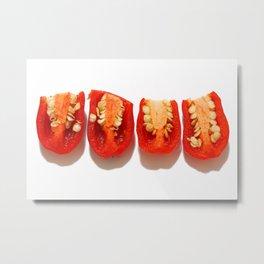 Sliced red peppers Metal Print