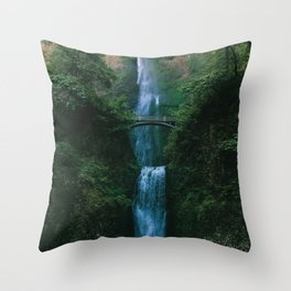 Waterfall Landscape (Color) Throw Pillow