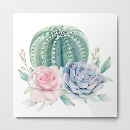 Cactus Rose Succulents Metal Print