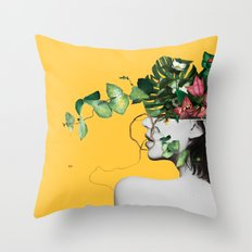 Lady Flowers Throw Pillow