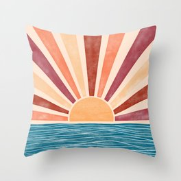 Warm Sunset on the Ocean  Throw Pillow
