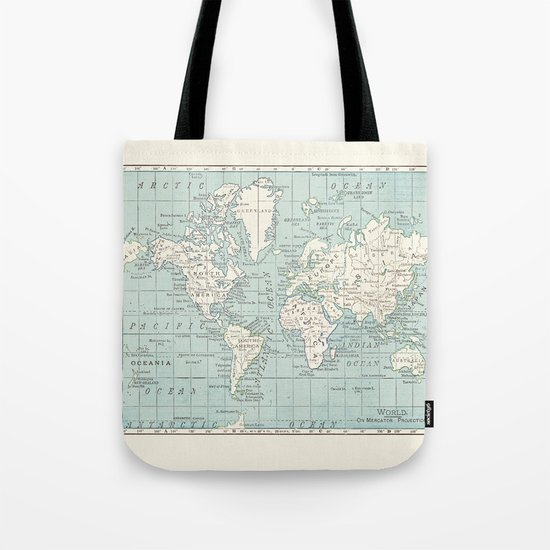 World Map in Blue and Cream by catherineholcombe