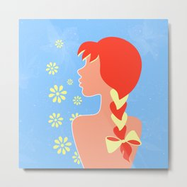 A redhead girl with a braid and a bow Metal Print