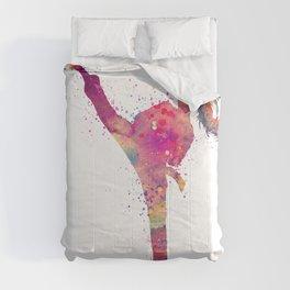 Karate Girl Colorful Watercolor Art Comforters