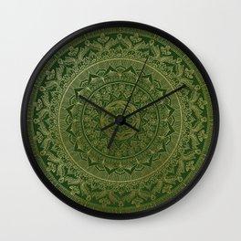 Mandala Royal - Green and Gold Wall Clock