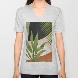Abstract Art Tropical Leaf 11 Unisex V-Neck