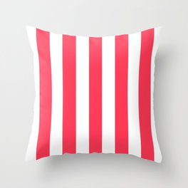 Sizzling Red pink - solid color - white vertical lines pattern Throw Pillow