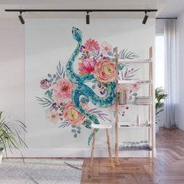 Blue Watercolor Snake In The Flower Garden Wall Mural