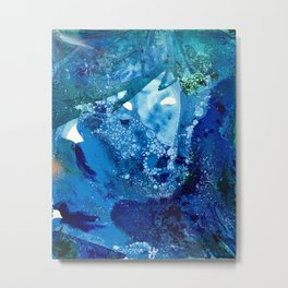 Environmental Blue Leaves, Tiny World Collection Metal Print