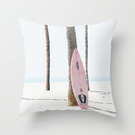 Pastel Pink Surfboard at Beach Throw Pillow