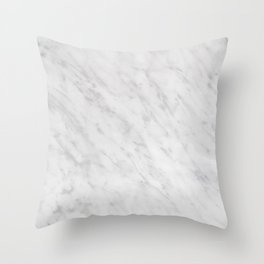 Grey and white natural marble stone background and texture Throw Pillow