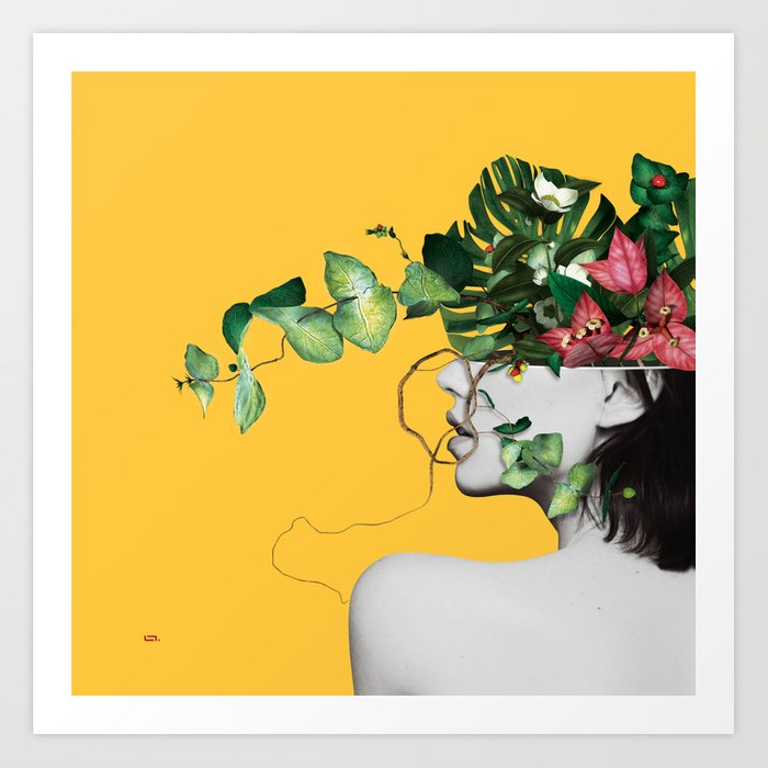 Lady Flowers Kunstdrucke