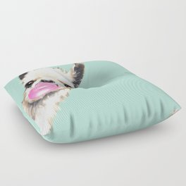 Bubble Gum Sneaky Llama in Green Floor Pillow