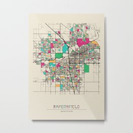 Colorful City Maps: Bakersfield, California Metal Print