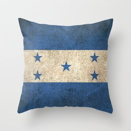 Old and Worn Distressed Vintage Flag of Honduras Throw Pillow