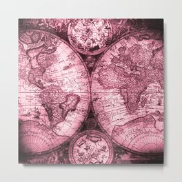 Vintage Pink Map Design Metal Print