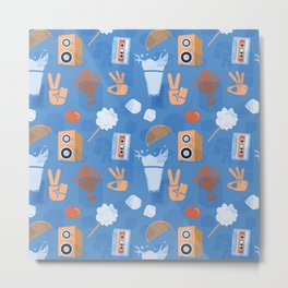 City Pop pattern evoking 1980s Japanese Summer Jazz Funk Metal Print