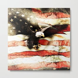 Bald Eagle Bursting Thru American Flag Metal Print