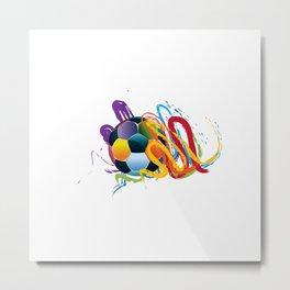 Brush strokes and soccer ball Metal Print