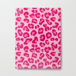 Leopard Print in Pastel Pink, Hot Pink and Fuchsia Metal Print