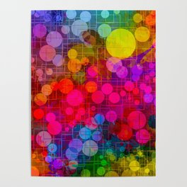 Rainbow Bubbles Abstract Design Poster