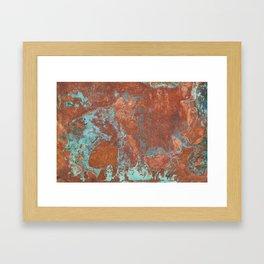 Tarnished Metal Copper Texture - Natural Marbling Industrial Art Framed Art Print