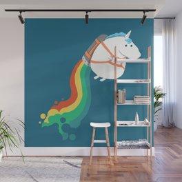 Fat Unicorn on Rainbow Jetpack Wall Mural