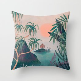 Paradise Cottage Throw Pillow