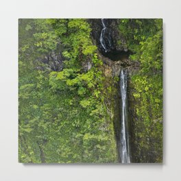 Just Beyond the No Trespassing Sign - Crooked Tropical Waterfall Metal Print