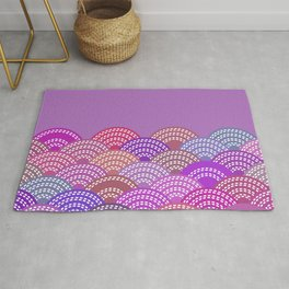 seigaiha wave lilac purple pink colors abstract scales Rug