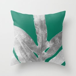 Christmas Fern, Holiday Green with Silver Winter Leaf Throw Pillow