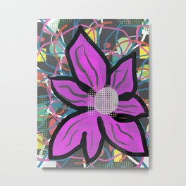 Wild Pink Flower Abstract Metal Print