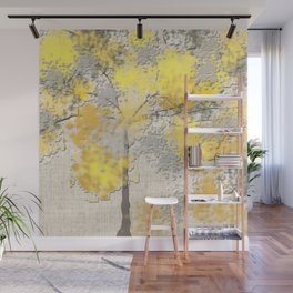 Abstract Yellow and Gray Trees Wall Mural