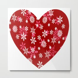 Red Heart Of Snowflakes Loving Winter and Snow Metal Print