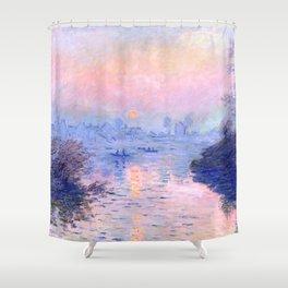 "Claude Monet ""Sunset on the Seine at Lavacourt. Winter Effect"" Shower Curtain"