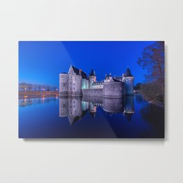 Sully sur Loire at night, Loire valley, France. Metal Print