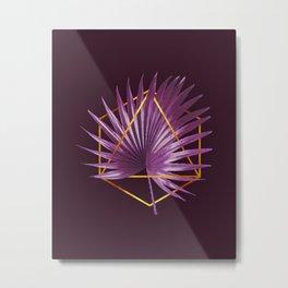 Minimal Tropical Palm Leaf - Palm And Gold - Gold Geometric - Modern Tropical Wall Art - Purple 2 Metal Print