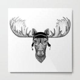 Moose Pilot Metal Print