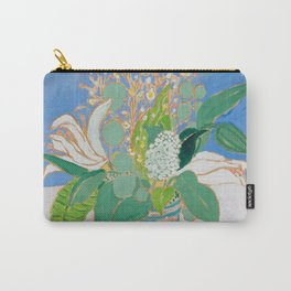 Lily and Eucalyptus Bouquet in Blue and Peach Floral Vase Carry-All Pouch