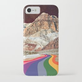 Trippy 1960s Stars and Moon Retro Red Rock Canyon Collage Milky Way Galaxy Colors iPhone Case