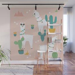 Summer Llamas on Pink Wall Mural