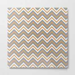 Chevron Pattern | Zig Zags | Orange, Grey, Black and White | Metal Print