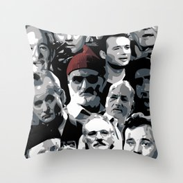 The many faces of Bill Murray Throw Pillow