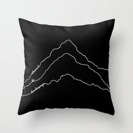 Tallest Mountains in the World / Mt Everest K2 Kanchenjunga / B&W Minimalist Line Drawing Art Print Throw Pillow