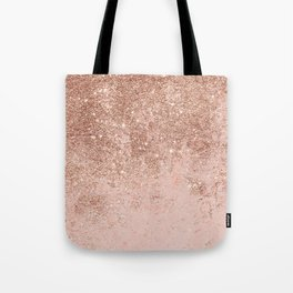 Girly blush coral faux rose gold glitter marble Tote Bag