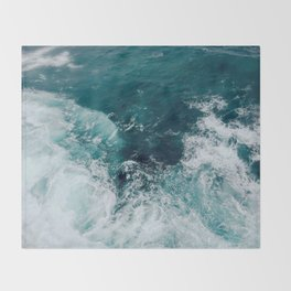 Ocean Waves (Teal) Throw Blanket