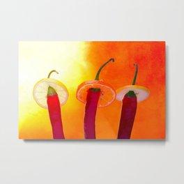 Red chili peppers. Hola Amigo Metal Print