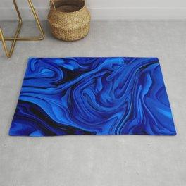 Blue Liquid Marbled texture Rug