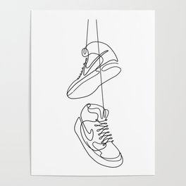 Sneakers simple minimal one line art, hanging shoes branded shoes  Poster